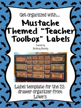 "Mustache Themed ""Teacher Toolbox"" Labels *Non-Editable*"