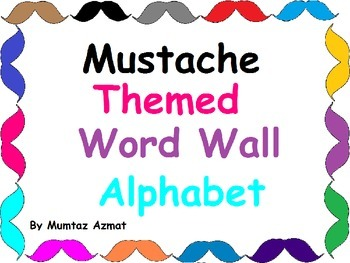Mustache Themed Word Wall Alphabet with Black Chevron Pattern: