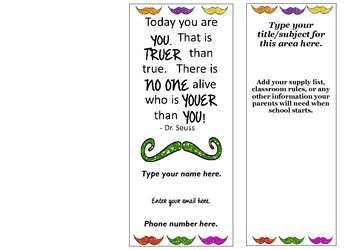 Mustache Welcome Back Pamphlet for Parents at Open House
