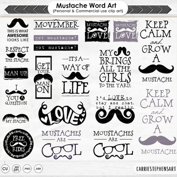 Mustache Word Art, Moustache Quote Clip Art, Scrapbooking Titles, Printable