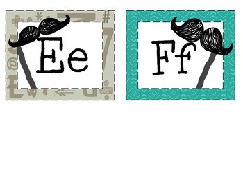 Mustache Word Wall and Number Cards