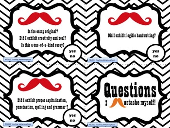 Mustache Writing Questions & Taskcards