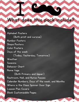 Mustache and Chevron Classroom Decor Pack