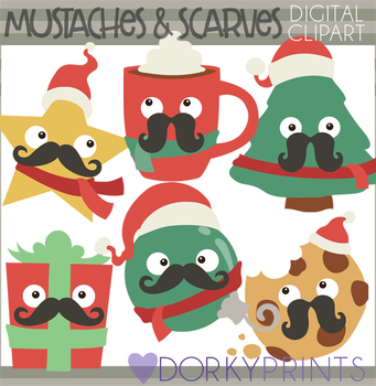 Mustache and Scarf Christmas Clip Art