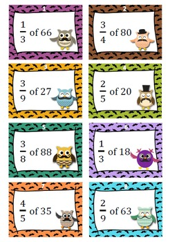 Mustache owls - Fractions of whole numbers