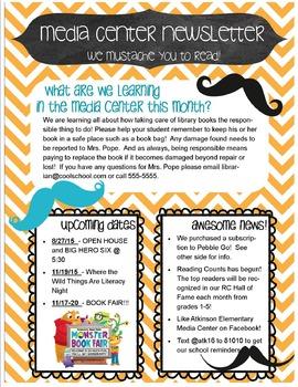 library newsletter template teaching resources teachers pay teachers