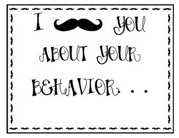 Mustache themed clip chart and binder cover