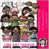 Mustache You clip art - LINE ART- by Melonheadz