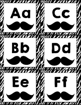 Mustache/Zebra Themed Word Wall Letter Headings