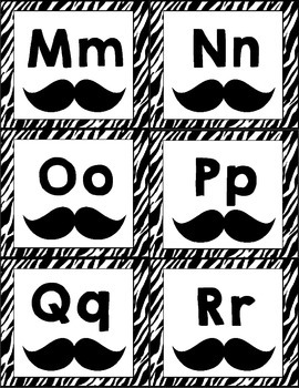 Mustache/Zebra Themed Word Wall Letter Headings