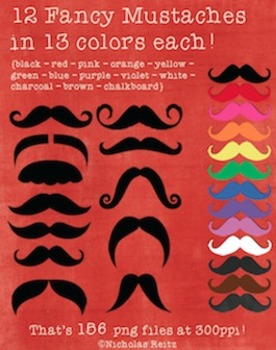 Mustaches! 12 different types in 13 different colors!