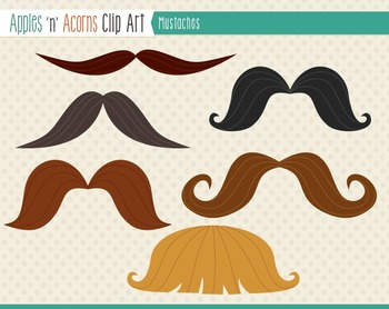 Mustaches Clip Art - color and outlines