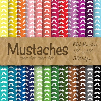 Mustaches Digital Paper - 24 Different Papers - 12 x 12