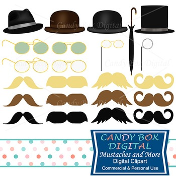 Mustaches, Hats, Glasses, and Monocles Clip Art