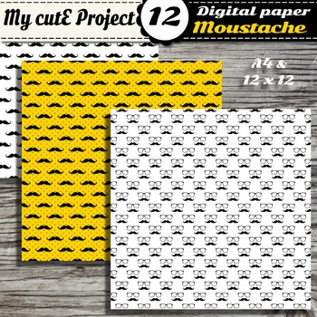 Mustaches and glasses Digital paper - Black, Yellow and White digital paper pack