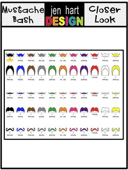 Mustache clip art graphics set