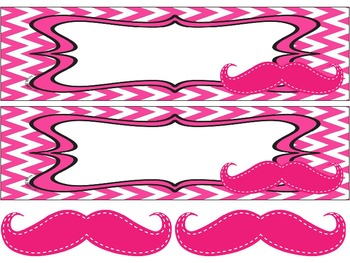 Mustaches on Pink Chevron Nameplates with bonus mustaches (editable)