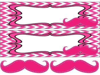 Mustaches on Pink Chevron Nameplates with bonus mustaches (editable)
