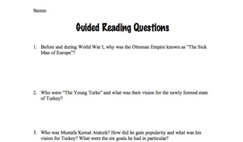Mustafa Kemal Ataturk Worksheet- Reading with Questions and Reader's Marks