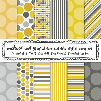 Mustard Yellow and Gray Stripes and Dots Digital Paper, for TpT Sellers