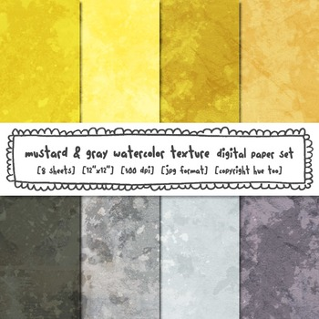 Mustard Yellow and Gray Watercolor Texture Digital Paper, Digital Backgrounds