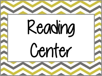 Mustard and Gray Chevron Center Labels