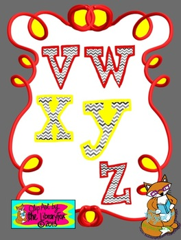 Mustard and Ketchup Yellow and Red Chevron letters for Titles