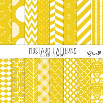 Mustard Yellow Geometrical Patterns - Digital Background