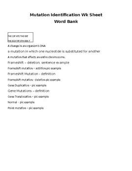 Mutation Identification Wk sheet