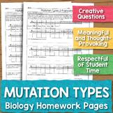 Mutation Types Biology Homework Worksheet