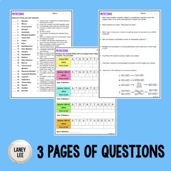 Mutations - Guided Reading + Worksheets