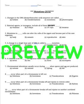 Mutations - Notes & Quiz