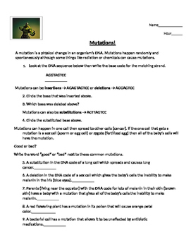 mutations worksheet by sonja 39 s science shop teachers pay teachers. Black Bedroom Furniture Sets. Home Design Ideas