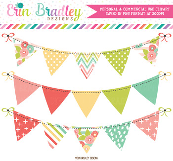 Muted Brights Bunting Clipart Banners