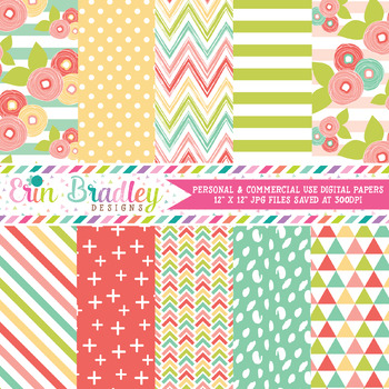 Muted Brights Digital Paper Pack