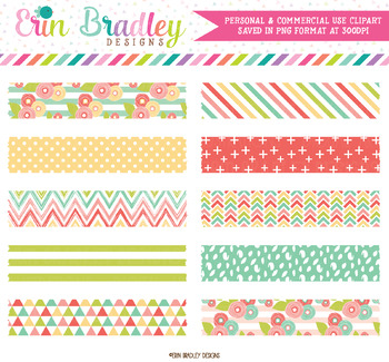 Muted Brights Digital Washi Tape Clipart