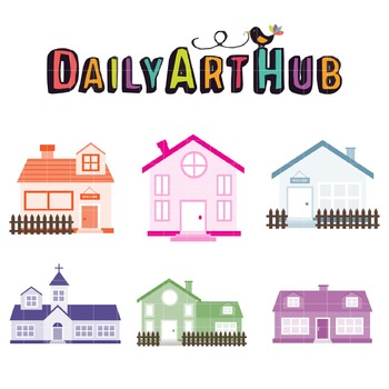 Muted Color Houses Clip Art - Great for Art Class Projects!