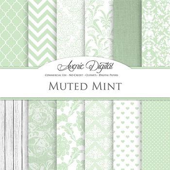 Muted Mint Wedding Digital Paper patterns - bridal green  backgrounds