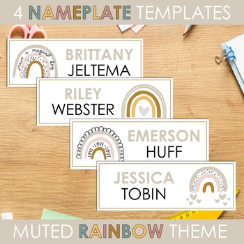 Muted Rainbow Classroom Decor: Name Tags & Name Plates