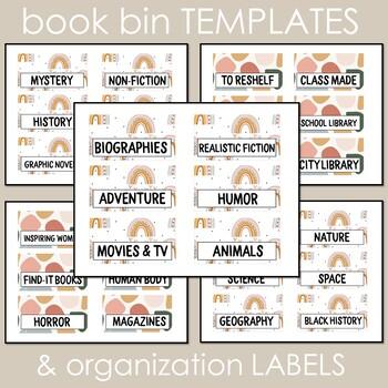 Muted Rainbow Classroom Decor: Organization, Roller Cart, & Book Bin Labels