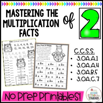 Multiplication Monsters- Practice For Facts of 2 Worksheets