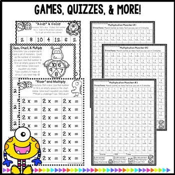 Multiplication Worksheets and Games- Practice For Facts of 2