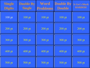 Mutiplication of Whole Number & Problem Solving Jeopardy (Game)