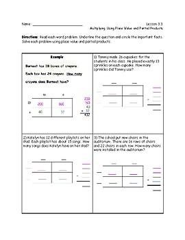 Mutiplying 2-Digit  by 2-Digit Numbers Using Area Model and Partial Products
