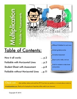 2 - 10 Mutliplication Using Arrays with Foldable and Assessment