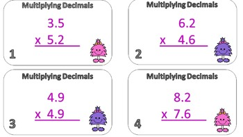 Mutliplying Decimals Task Cards