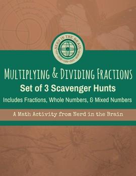 Mutliplying and Dividing Fractions Scavenger Hunts: Set of 3