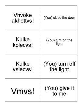 Mvskoke Language Flashcards set 8