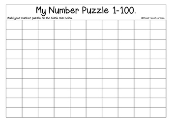 My 1-100 Number Puzzle & Chart