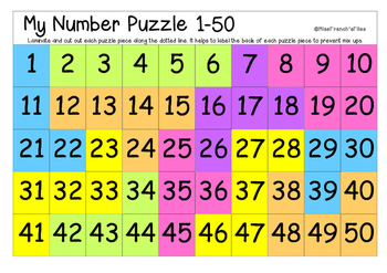 graphic about Free Printable Numbers 1-50 titled 1-50 Selection Chart Worksheets Schooling Supplies TpT